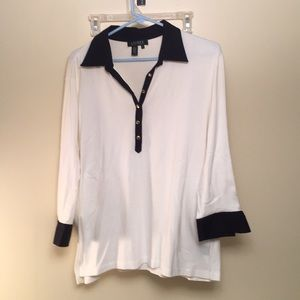 Ralph Lauren White Top Blue Collar and Cuff 2X